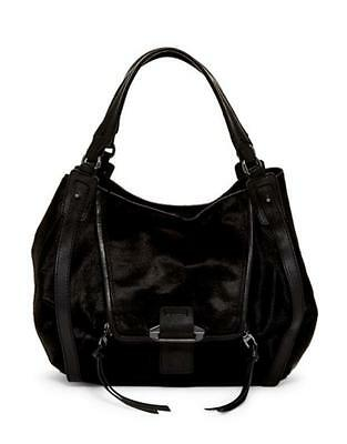 Kooba JONNIE Shopper Tote Roo Pocket Genuine Leather/Calf Hair ~BLACK ~$498 ~NWT
