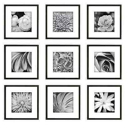 9 pcs square photo picture frame collage set black white mat home wall art decor