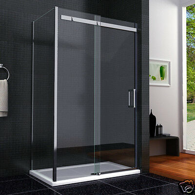 Frameless Sliding Shower Door Enclosure 8mm NANO Glass Screen Side Panel Tray