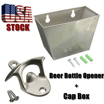 Wall Mount Stainless Steel Bar Beer Bottle Opener + Cap Catcher Box Screw NEW