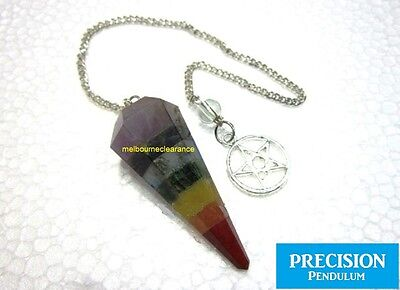 Chakra Seven Crystal Gemstone + Pentacle Chain Precision Pendulum Healing Energy