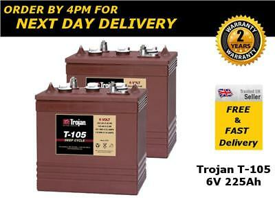 2x Trojan T-105 / T105 Batteries 6V 225Ah - 2 Years Warranty