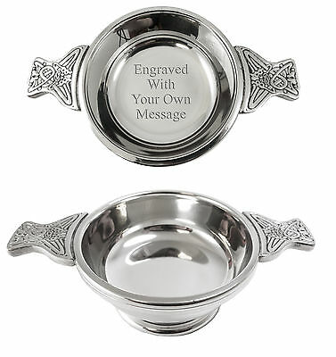 Personalised Pewter Scottish Quaich Bowl - Engrave With Your Message