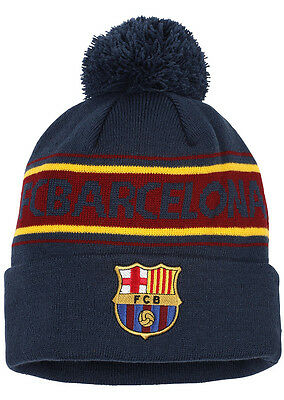 Official Barcelona FC Merchandise. Adults Bobble Hat. Winter/Woolly Beanie