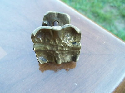 Old Cast Unpolished Brass, 2 Piece Gothic Style Single Drawer Pull, Free S/H