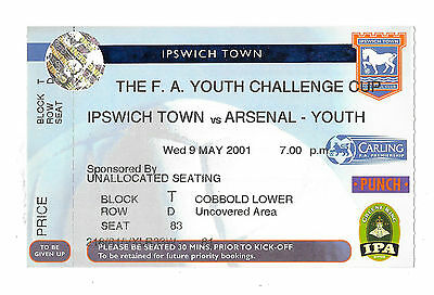 Ipswich Town v Arsenal, 2000/01 - FA Youth Challenge Cup Match Ticket.