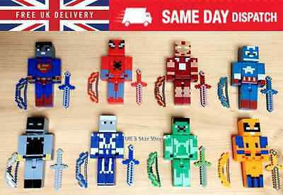 8PCS Minecraft Figures MARVEL Action -SUPER HERO AVENGERS BATMAN HULK SPIDERMAN