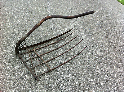 "Rare Antique Reaper Grain Cradle Scythe 45"" Blade w/ 4 Fingers Farm Tool Havest"