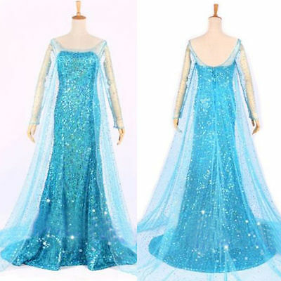 Christmas Women Princess Fancy Cosplay ELSA Dress Evening Adult Costumes UK 6-18