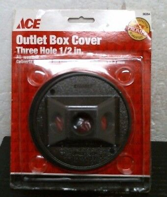 "ACE 36264 All-Weather Outlet Box Cover, 3-Hole, 1/2"", FREE SHIPPING"