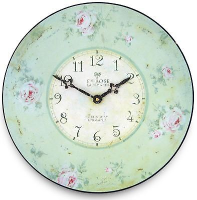 "36cm ""Nottingham Lacemaker's"" Floral Rose Vintage French Kitchen Wall Clock"