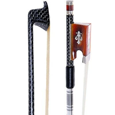 PRO Master Silver Braided 4/4 Carbon Violin Bow For 4/4 Violin W/OX Horn Frog