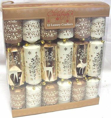 Pack Of 12 Luxury Family Christmas Crackers Foiled Gold & Cream Tree & Reindeer