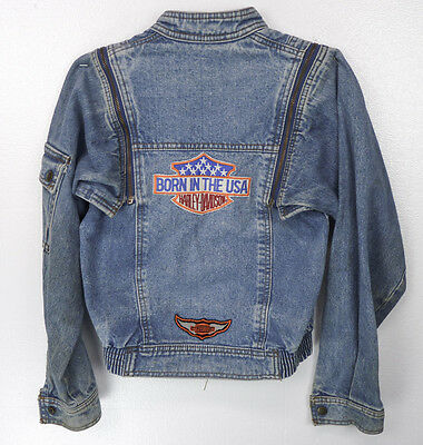 Vintage 80s HARLEY DAVIDSON Born in USA Denim Convertible Jacket/Vest Boys 10