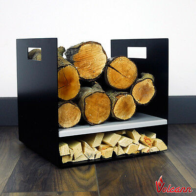 Compact 32cm Modern Firewood Log Basket/Carrier for Woodstove Fireplace Holder