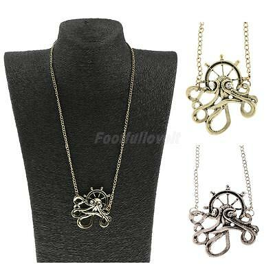 Victorian Vintage Steampunk Gothic Octopus Anchor Pendant Necklace Jewelry Gift