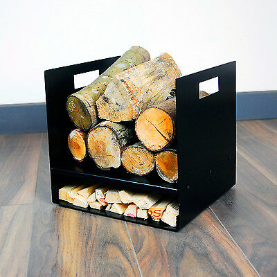 Modern Square Premium Firewood Log Basket - Wood Buring Stove Fire Kindling UK