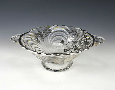 Sterling Silver Applied Overlay Double Handled Glass Bowl, c1930 Scallop Rim