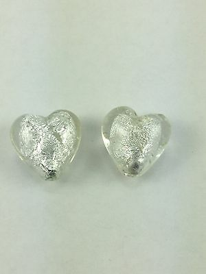 Crystal Silver Foiled Glass Puffed Heart Bead - 20mm