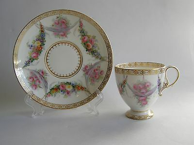 Antique Copeland Spode Bone China Cup and Saucer Hand Painted in Sevres Style *