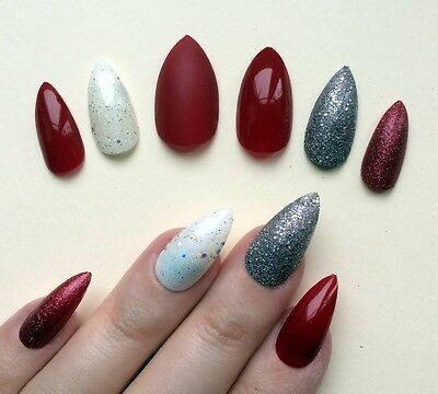 Hand Painted False Nails STILETTO Full Cover Glitter Deep Dark Red Maroon. UK