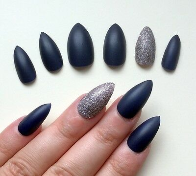 Hand Painted False Nails STILETTO Full Cover Matte Dark Navy Blue & Silver NEW