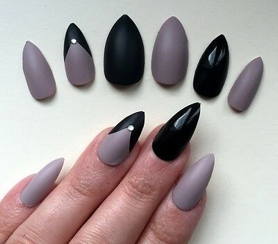 Hand Painted False Nails Stiletto (or ANY SHAPE) Full Cover Matte Nude & Black