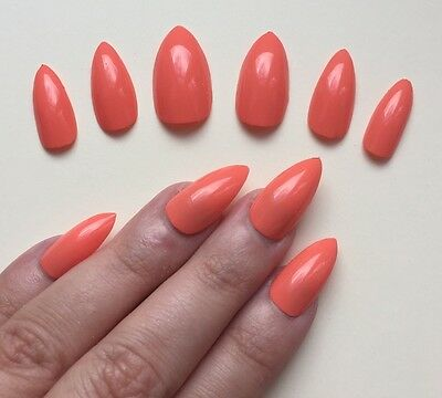 Hand Painted False Nails STILETTO Full Cover. Summer Coral Gelly. NEW COLOUR