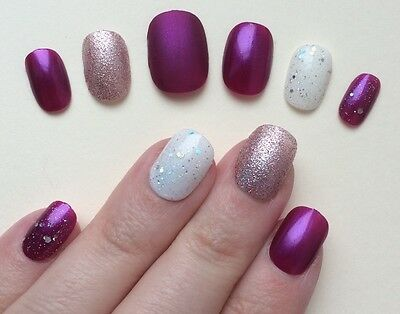 Hand Painted False Nails.SHORT ROUND small Full Cover Glitter Matte Pink Purple
