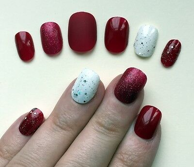 Hand Painted False Nails. ROUND PETITE Full Cover Glitter Dark Red UK