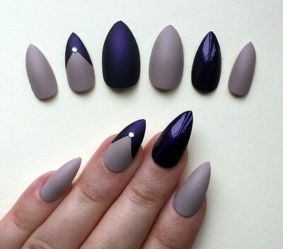 Hand Painted False Nails STILETTO Full Cover Matte Gloss Vanilla Nude Purple NEW