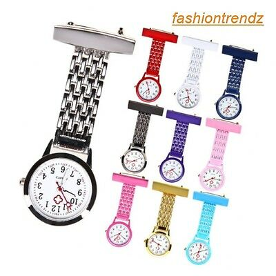 New Stainless Steel Unisex Docrtor Nurse Watch Brooch Tunic Fob Coloured Watches