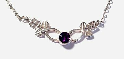 Sterling Silver & Amethyst Charles Rennie Mackintosh Style Pendant Necklace