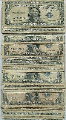 1935, 1957 Rat Pack $1 Silver Certificates Lot of 100 Bills Well Worn Rags
