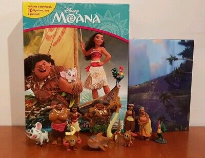 NEW Disney Moana My Busy Book + 12 Character Figurines & Playmat