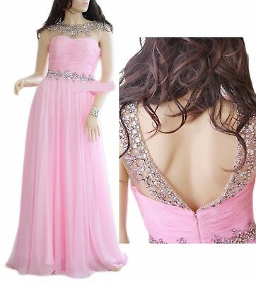 Princess Pink Full Cover Gemstone, Bridesmaid, Prom, Evening Gown Dress (Size2)