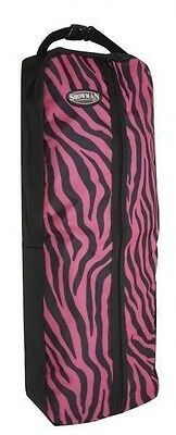 Showman Nylon Bridle Halter Bag Full Zipper Pink ZEBRA Print New Horse Tack