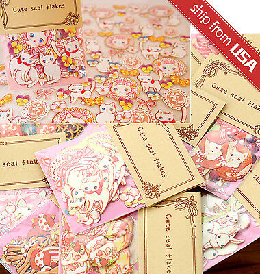 US Lot 70 Japan Cartoon Cat Animal Rabbit flower sticker flakes Seal Cute Kawaii