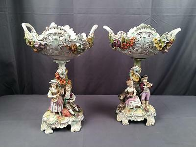So Rare to Find 2 AntQ Dresden Carl Thieme Figural Reticulated Compotes Signed