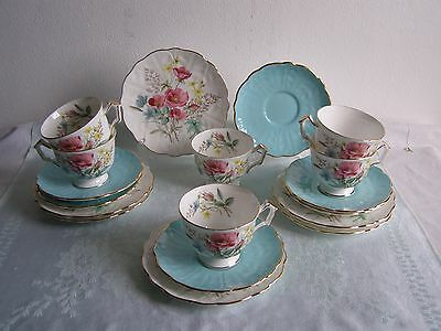 6 Aynsley Bone China Tea Trios Cups Saucers Plates 9304 Pattern Wild Flowers