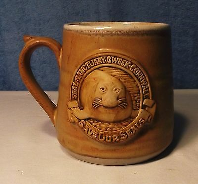 Seal Sanctuary Gweek Cornwall Pottery Coffee Cup / Mug, Save Our Seals