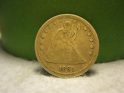 1891 Silver Liberty Seated Quarter (25C)