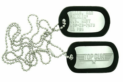"Top Gun Sam ""Merlin"" Wells Stainless Steel Military Dog Tag Set Costume Prop"