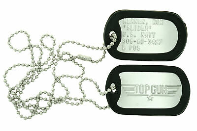 "Top Gun Ron ""Slider"" Kerner Stainless Steel Military Dog Tag Set Costume Prop"