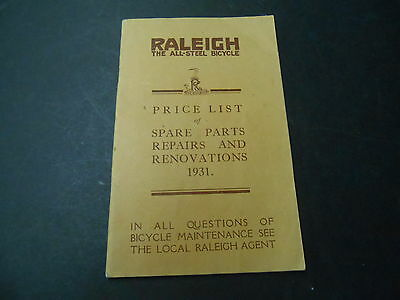 Raleigh 1931 Spare Parts and Repairs Bicycle Cycle Catalog Catalogue Brochure