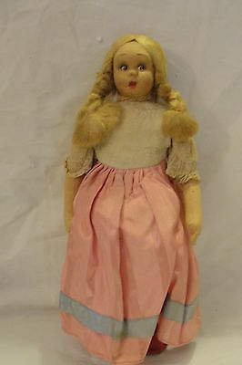 Vintage German? Cloth / Paper Mache? Doll - Hinged Legs