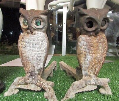 Antique OWL ANDIRONS Glass Glow Eyes  Fire Dogs