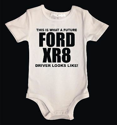 Future Ford XR8 Driver Cotton Unisex Baby One Piece Baby Suit