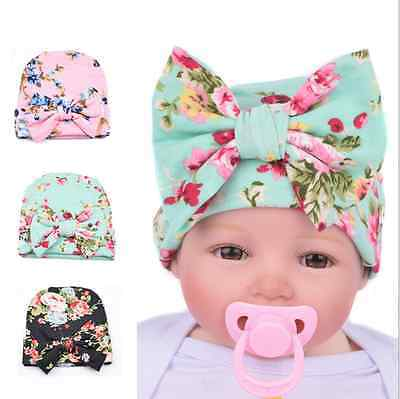 Newborn Baby Infant Girl Toddler Bowknot Hospital Cap Cotton Floral Beanie Hat
