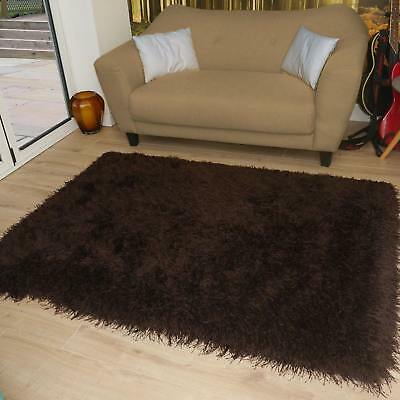 Modern Shaggy Very Thick 9cm Very Soft Touch Brown Rug Variations Sizes Carpet